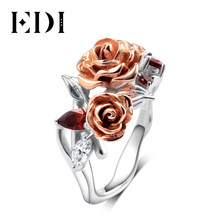 EDI Romantic Rose Series Real 925 Sterling Silver Engagement Ring Double Rose Luxury Natural Garnet Love Gift Ring For Women(China)