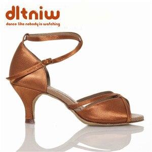Image 5 - 2020 אישה שחור טאן ריקודים סלוניים נעלי נשים רחב רוחב Custom עקבים סלסה הלטינית נשים של נעלי ריקוד לטיני