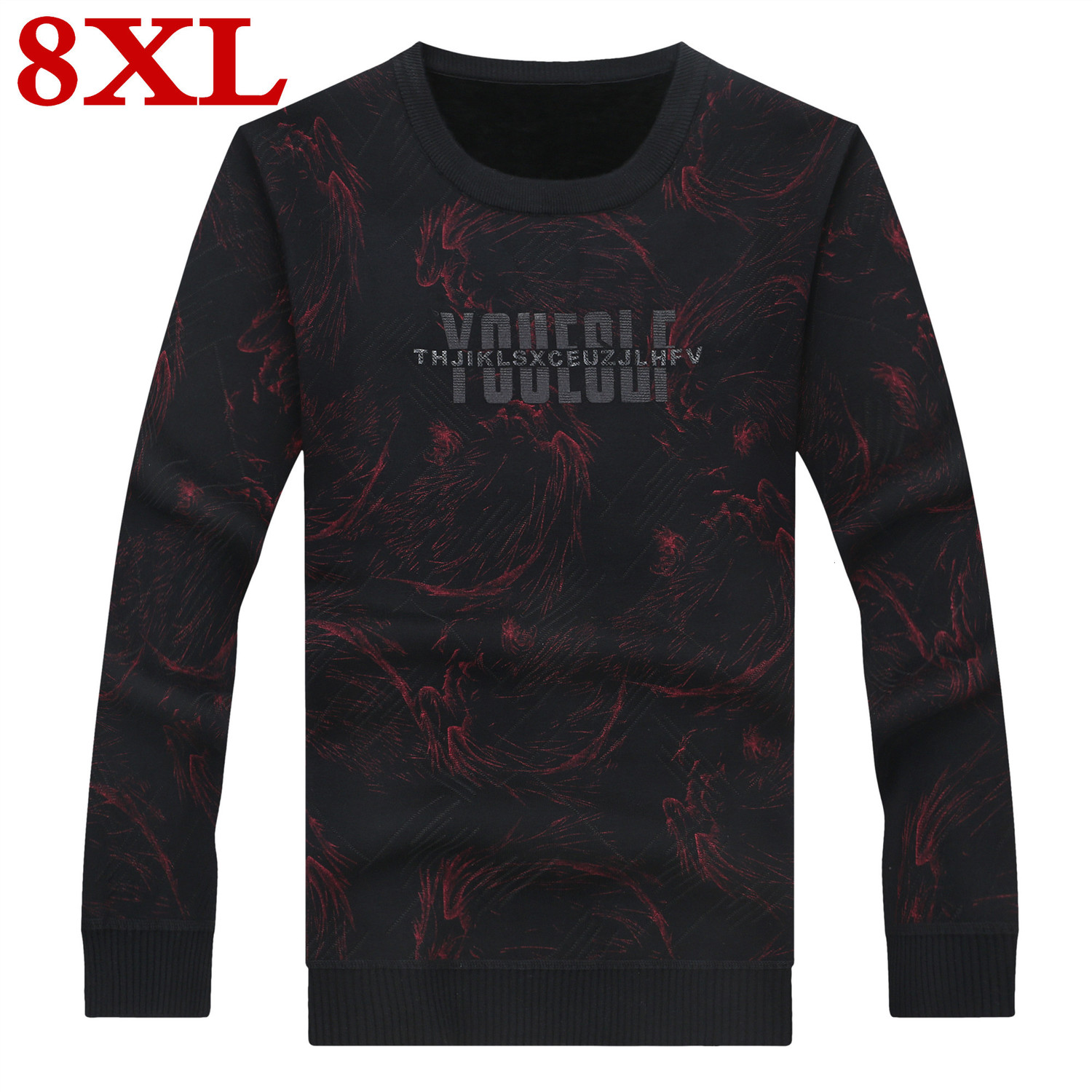 New Plus Size 8XL 7XL 6XL Sweater Man Pure Cashmere Knitted Winter Warm Pullovers Round Neck Long Sleeve Standard  Sweaters Male