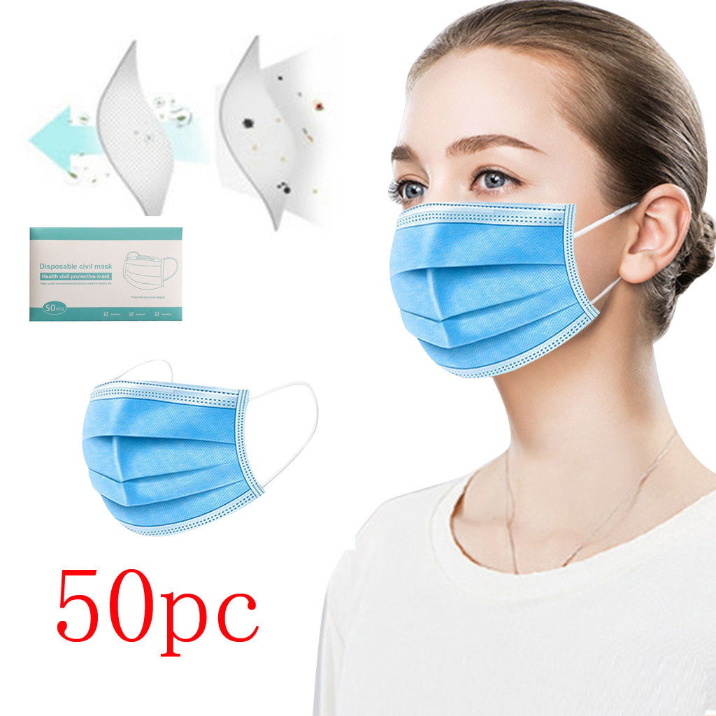 50 Pcs 3-Ply Non-Woven Anti-Dust Anti-Saliva Mouth Face Mask Thickened Disposable Face Masks Protective Ear Loop Mask Respirator