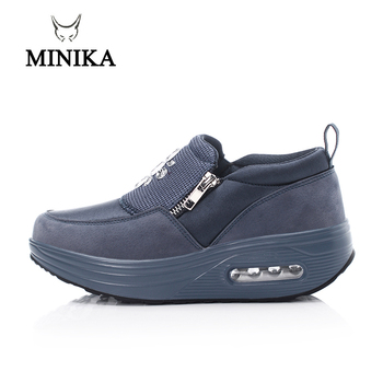 New Wedge Sneaker Slimming Toning Shoes Slip On Thick Bottom Increase Blue Women Fitness Shoes Shock Swing Shoes Walking 4 5 cm height toning shoes for women fitness walking slimming workout sneakers wedge platform air swing shoes for female