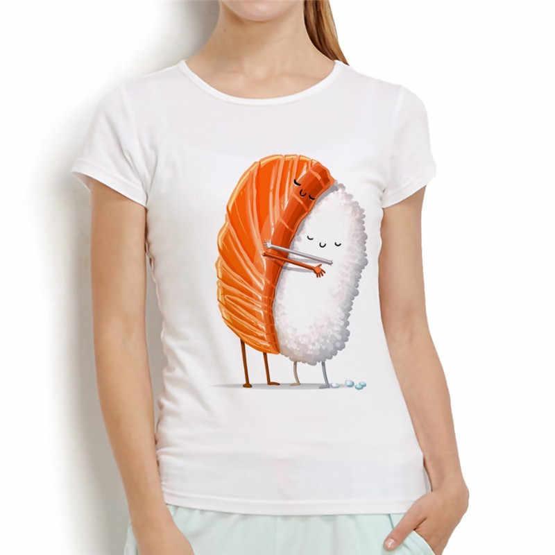 Śliczne łosoś przytulić ryż Sushi śmieszne T koszula kobiety 2019 dorywczo nowy biały z krótkim rękawem letnia koszulka dla dziewczyn list mężczyzn T-Shirt Homme