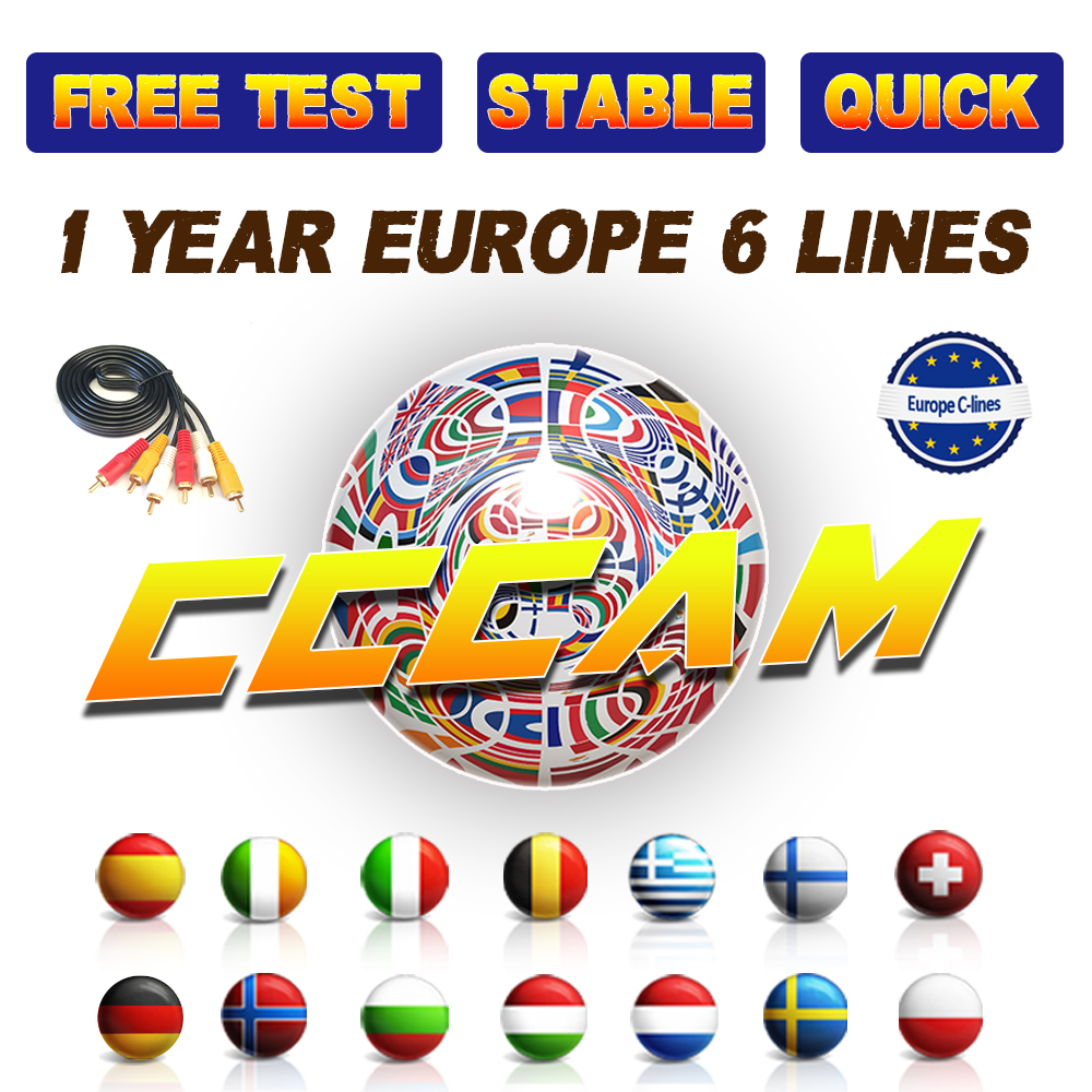 CCCAM España IPTV Server 1 Year CCCam Cline For 1 Year Spain Poland Portugal Germany Satellite HD TV Receiver For DVB-S2 Gtmedia