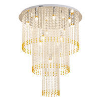 modern 3 layers crystal chandelier lighting AC110V 220V yellow crystal living room bedroom lamp