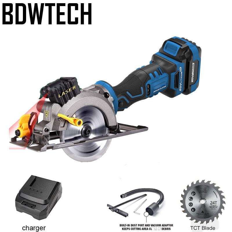 BDWTECH BT526 Electric Mini portable 20V cordless circular saw Laser Mini Electric circular saw with 115mm wood saw blade