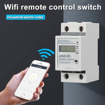 Dijital Elektrik Tüketimi KWh Demiryolu Akıllı Enerji ölçer WiFi Güç ölçer Watt Uzaktan Kumandalı Anahtar Kontrol Monitörü 220V