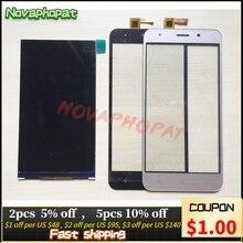 Novaphobat negro/dorado pantalla LCD para Vertex Impress Luck pantalla LCD + reemplazo de digitalizador de pantalla táctil + seguimiento