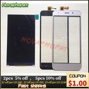 Image 1 - Novaphopat черный/золотой ЖК дисплей для Vertex Impress Luck ЖК экран + сенсорный экран дигитайзер Замена + отслеживание