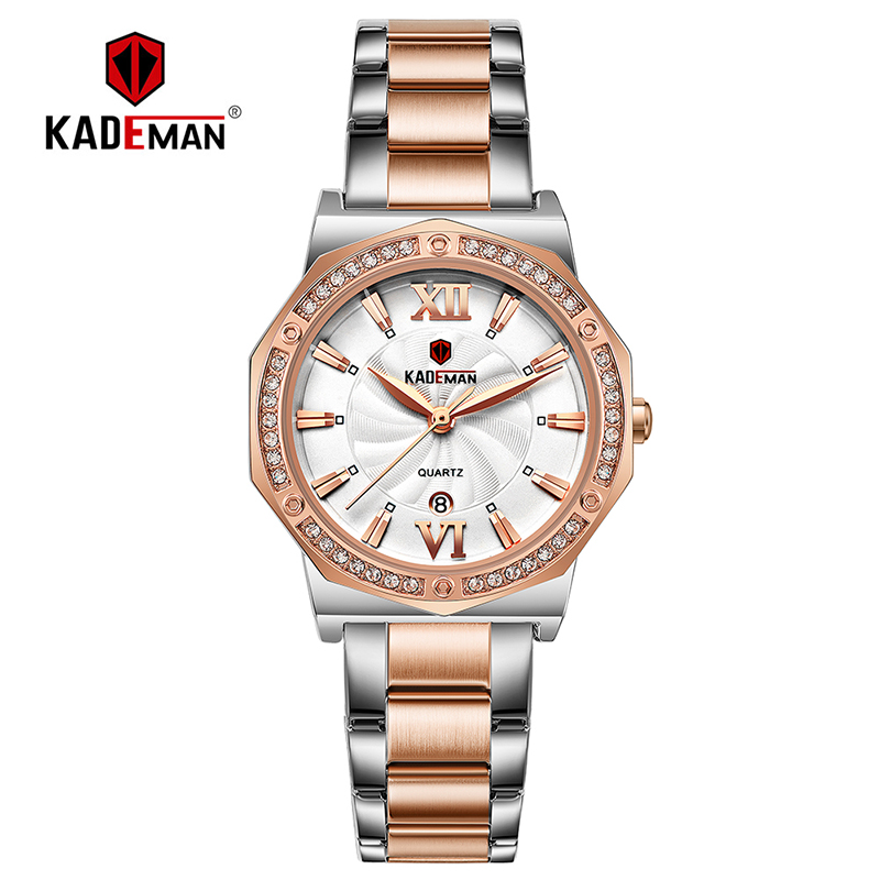 Kademan Ladies Wristwatch New Sweet Full Steel Bracelet Luxury Crystal Women Watches TOP Quality Fashion Brand Design Female