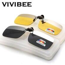 VIVIBEE 2020 New Arrival Square Polarized Clip on Sunglasses Men Driving Two Colors Grey Silver Clip-on Mirror Women Glasses