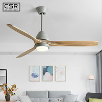 Frequency Conversion 52 Inch LED Ceiling Fan With Light For Living Room Ventilateur de plafon Bedroom Cooling Fan Lamp Loft Wood