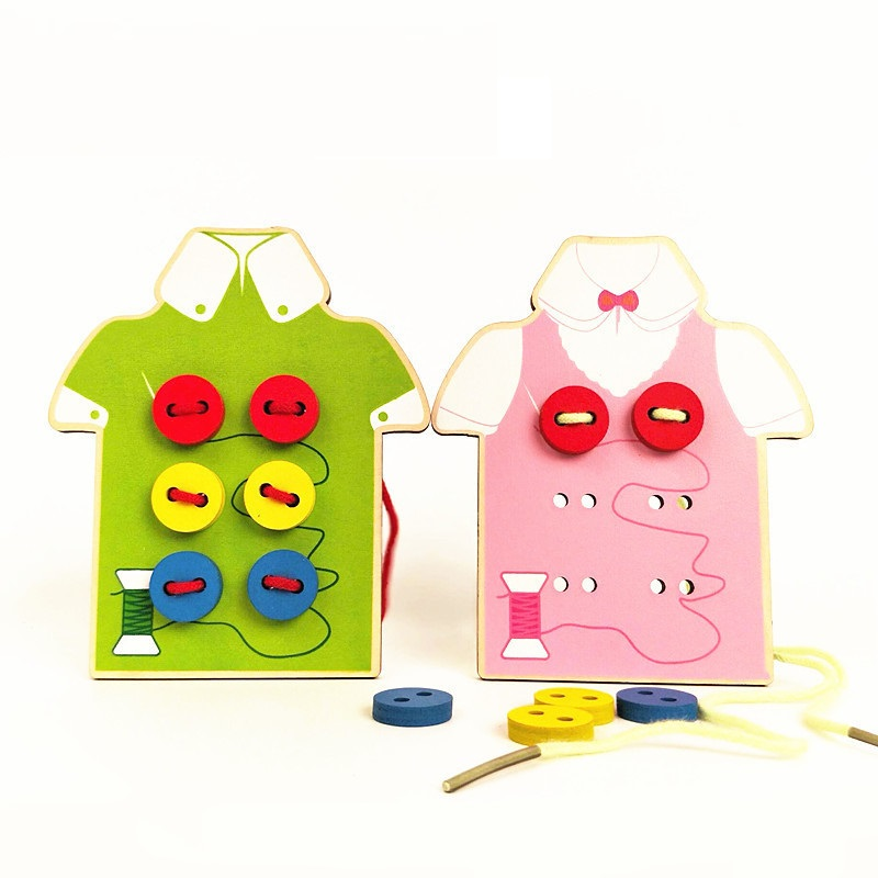 Kids Montessori Educational Toys Toddler Sew On Buttons Early Education Teaching Puzzle Children Wooden Beads Lacing Board Toys