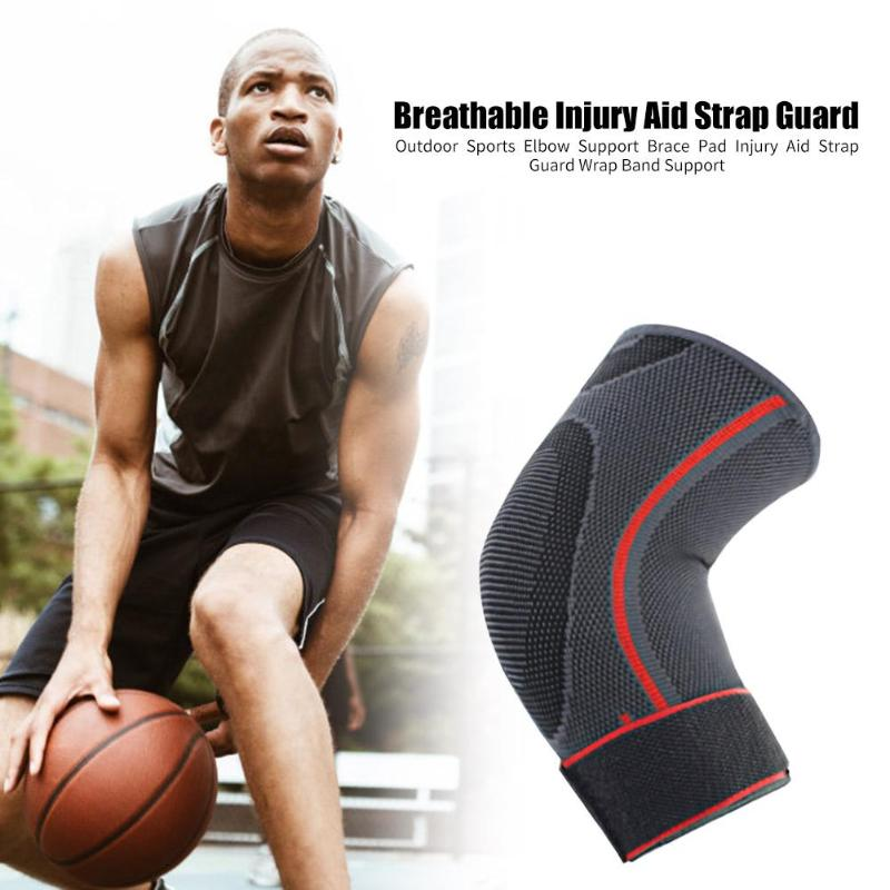 1PC Elbow Support Elastic Gym <font><b>Sport</b></font> Elbow Protective Pad Nylon <font><b>Sports</b></font> Elbow Support Brace Breathable <font><b>Injury</b></font> Aid Strap Guard image