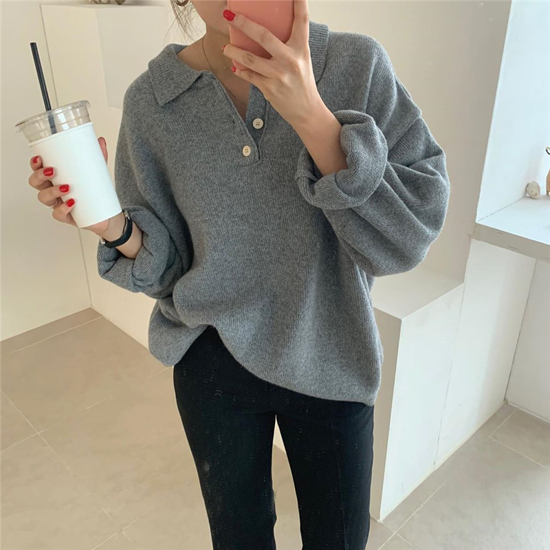 4 Colors Korean Ins Style Autumn And Winter Turn Down Collar Knitted Sweater And Pullovers Womens  (my8306)