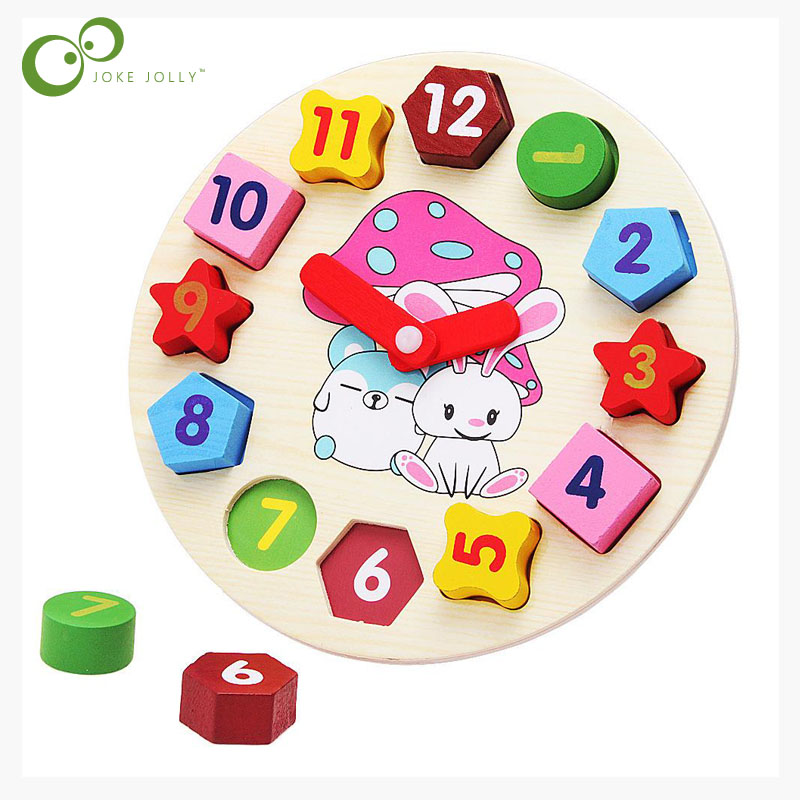 1Pcs Education Wooden Clock Puzzle Toys Wooden Digital Clock Jigsaw Toy Geometry Stacking Baby Kids Childrens Toys
