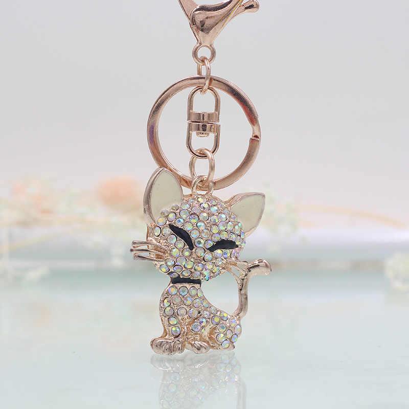 Vick Dolly Rose Gold Kitten แฟชั่น Key Chain Multicolor คริสตัล Rhinestone ของขวัญพวงกุญแจผู้หญิง Satchel แขวนเครื่องประดับ