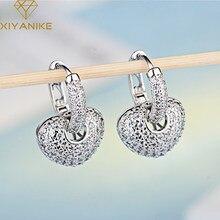 Xiyanike 925 Sterling Zilveren Voorkomen Allergie Kristallen Oorbellen Voor Vrouwen Bruiloft Paar Koreaanse Charmant Hart Partij Sieraden