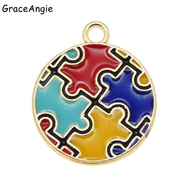 6 sztuk emalia autyzm wisiorek kolorowe tworzenia biżuterii DIY Handmade Craft kawałek układanki Charms dla bransoletka kolczyki śliczny prezent DIY