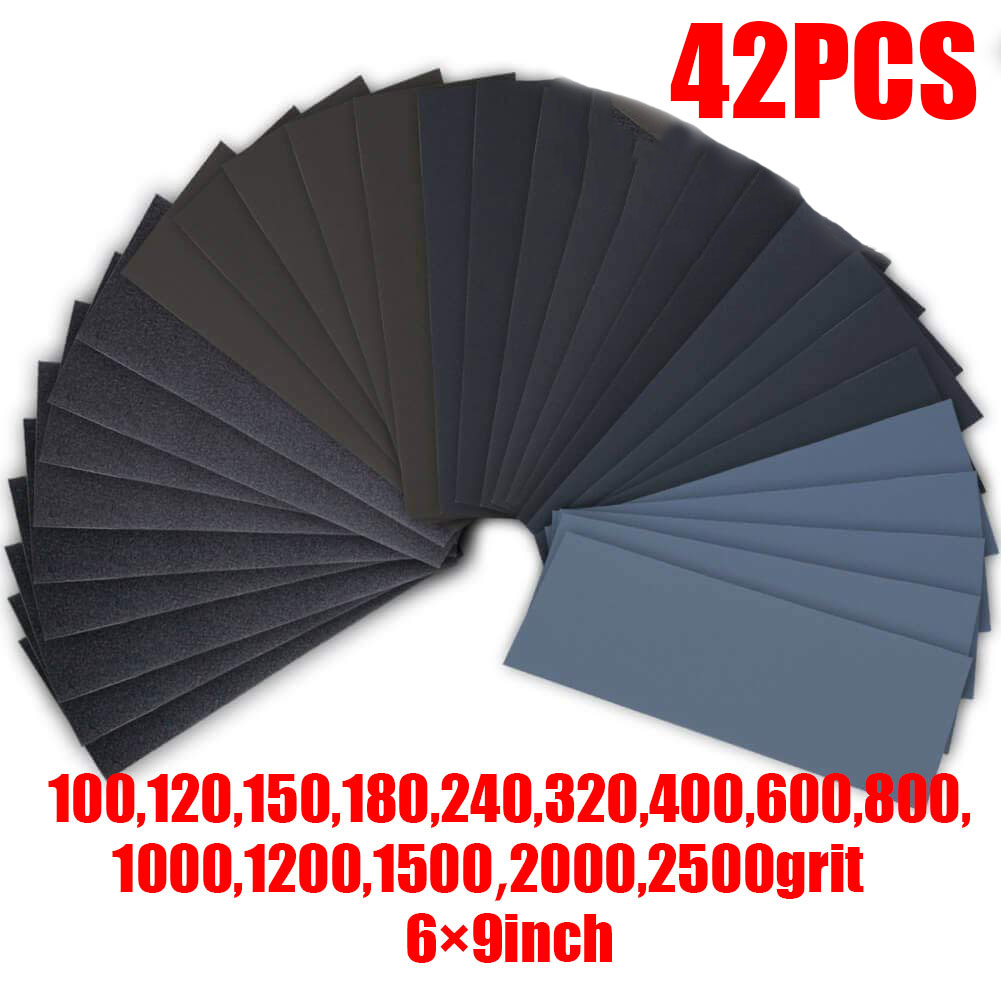 42pcs Wet Dry Sandpaper For Car Sanding Wood Furniture 100-2500Grit 3.6x9Inch For Polishing And Grinding