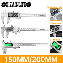 0-150/200mm Electronic Digital Vernier Caliper Stainless Steel/Plastic LCD Display Depth Measuring Instruments Micrometer Tool