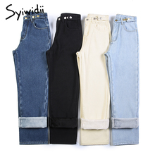 Boyfriend Jeans Fleece Plus-Size Women Velvet Black High-Waist Straight Button for Mom