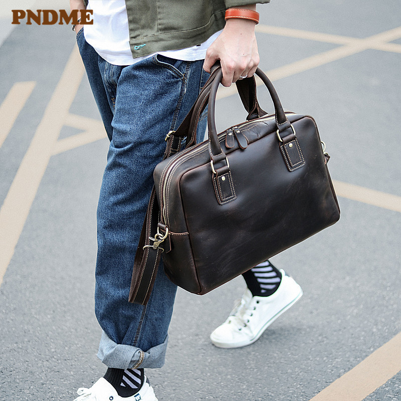 PNDME Fashion Vintage Crazy Horse Cowhide Men's Briefcase Business Large Capacity Handbag Genuine Leather Laptop Messenger Bags