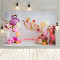 Avezano Fotografie Hintergrund Flamingo Rosa Blume Luftballons Weiß Wand Mädchen Baby Geburtstag Party Hintergrund Foto Studio Photo