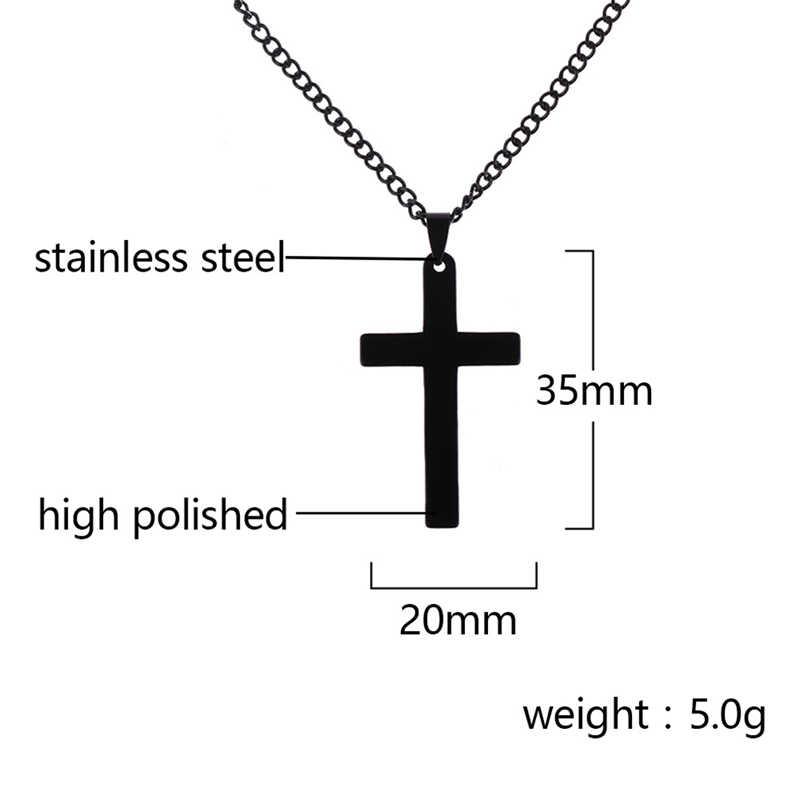 ヴィンテージクロスペンダントネックレスステンレス鋼ネックレス新デザイン黒チェーンペンダントチョーカーネックレスメンズレディースネックレス