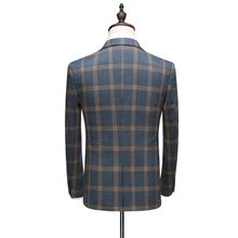 Marke Männer Casual Business-Blazer Set Mode Plaid Slim Fit Single Button Anzug Jacke Weste Hosen Drei Stück Set Hochzeit blazer(China)