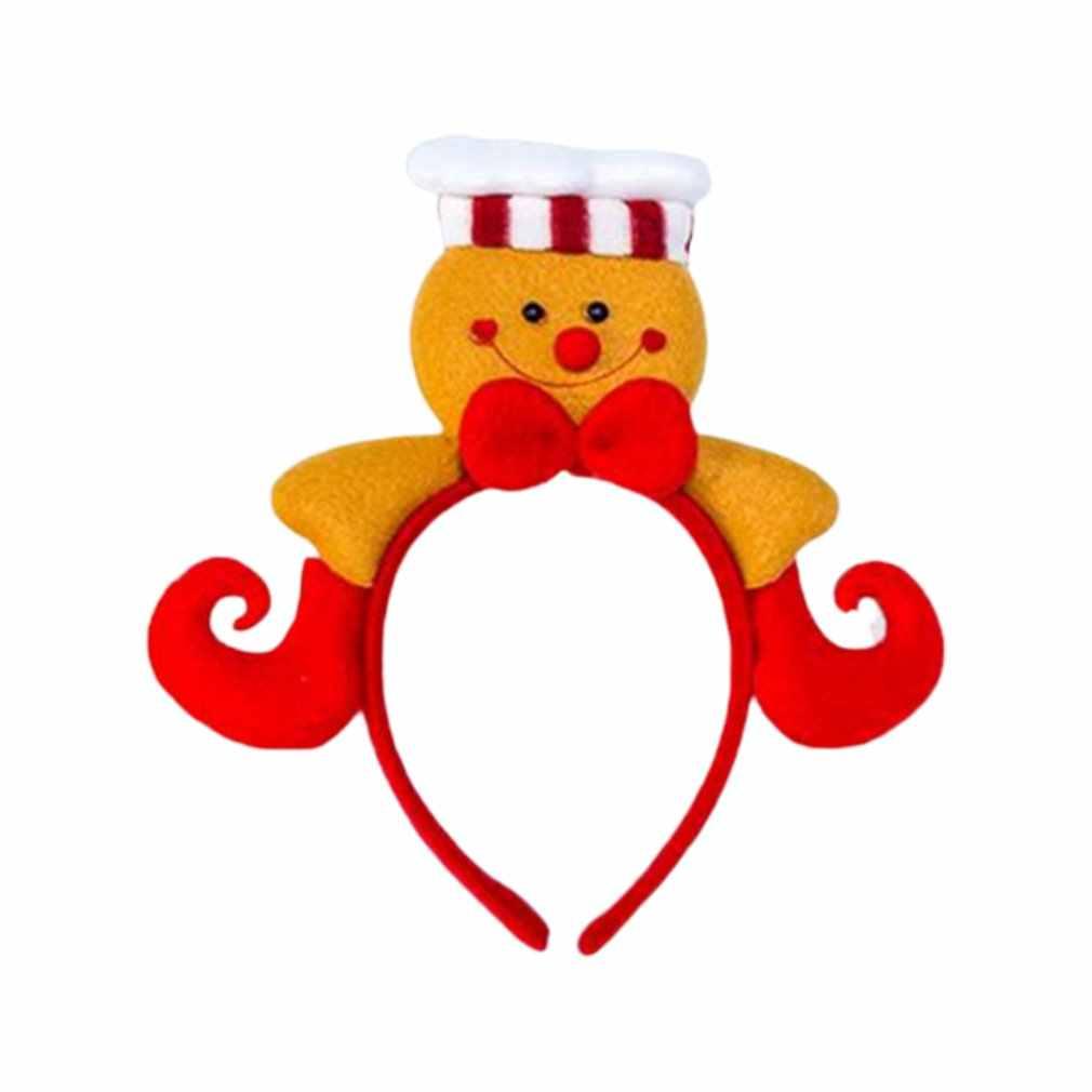 Dekorasi Natal Kain Santa Claus Ikat Kepala Rambut Cincin Lucu Biskuit Orang Gadis Headband Rambut Natal Lingkaran