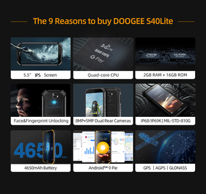 Image 2 - New DOOGEE S40 lite Rugged Android 9.0 Mobile Phone 5.5 inch Display 4650mAh MT6580 Quad Core 2GB RAM 16GB ROM 8.0MP IP68/IP69K
