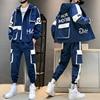 Hip-hop Suit Male Set Track Suits Sweatsuit Man Tracksuit Mens Set Pant Zipper Pockets Outwear 2PC Jacket+Pants Sets 2021 New 1