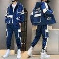 Hip-hop Anzug Männlichen Gesetzt Track Anzüge Sweatsuit Mann Trainingsanzug Herren Gesetzt Hose Zipper Taschen Outwear 2PC Jacke + hosen Sets 2021 Neue