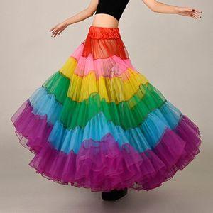 Image 4 - צבעוני תחתונית ללא עצמות שמלת כלה תחתוניות גדול מטוטלת ריקוד רשת טוטו חצאיות קרינולינה כלה תחתונית רוקבילי