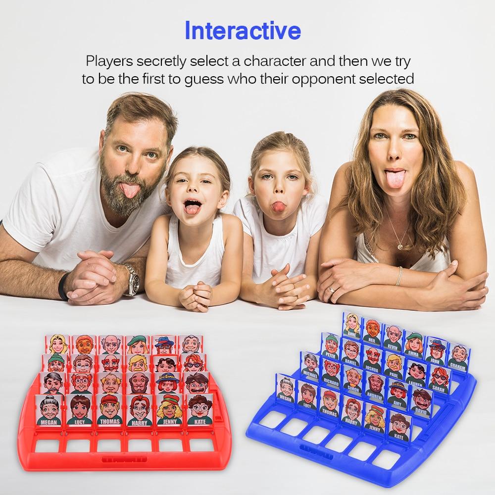 Família adivinhando jogos quem é clássico jogo de tabuleiro brinquedos memória formação pai criança lazer tempo festa interior jogos adereços natal