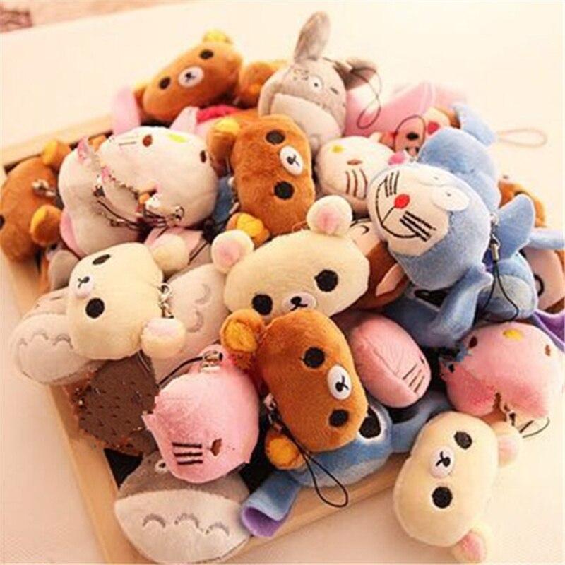 40 pçs/lote Para A Escolha-Gato, Coelho Etc. Boneca enchida do brinquedo do luxuoso de 4 cm; corda corda brinquedos acessórios bonecas