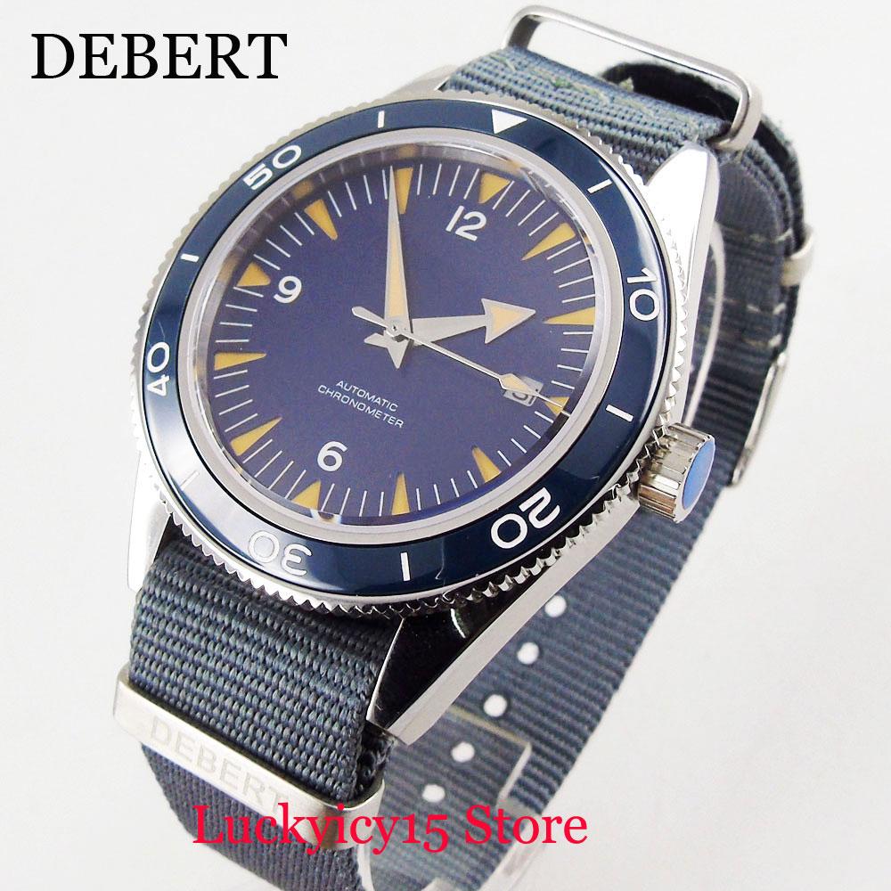 DEBERT Self Winding Men's Watch Date Window Sapphire Glass Blue DIal 41mm Causal Wristwatch Nylon Strap