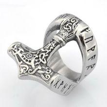 Новый Мода viking томагавк и надписью «big Кольцо Для мужчин
