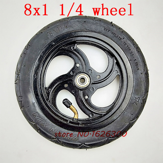 """Neumático de aleación de aluminio para patinete, tamaño 8x1, 1/4, 32mm de ancho, rueda inflada de 8"""""""
