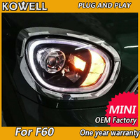 KOWELL Car Styling For BMW MINI Cooper Countryman F60 Full LED Headlights Lens Projector turn signal LED DRL front headlight