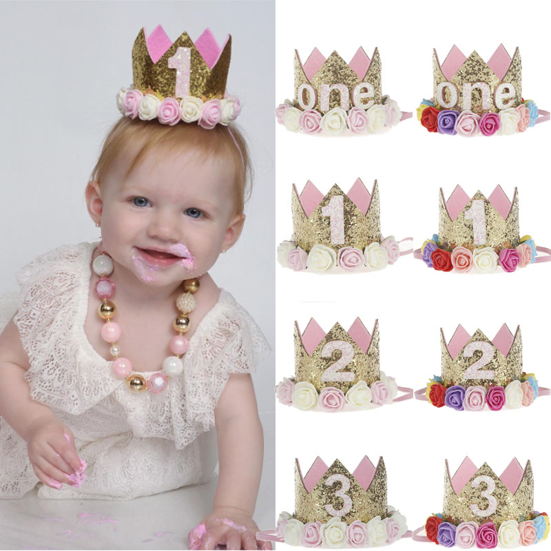 1st Birthday Party Decor Hat Kids 1 2 3 Year Happy Birthday Boy Girl First Birthday Party Baby Shower Decor Pink Crown Hat