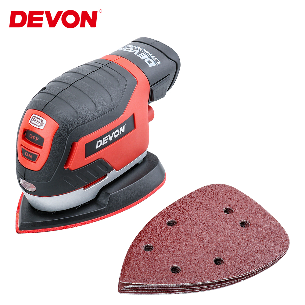 DEVON 12V Electric Cordless Sander Palm Sander Flat Sander Furniture Grinder Wood Polisher Lithum-ion Battery W/Vacuum Adapter
