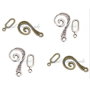 Antique Tibetan Silver Snail Swirl Toggle Clasps for Jewelry Making Hooks Diy Bracelet Necklace Clasp Hooks Findings Accessories 30pcs mixed tibetan silver tone crown key animal charm pendants for bracelet necklace jewelry accessories diy jewelry making