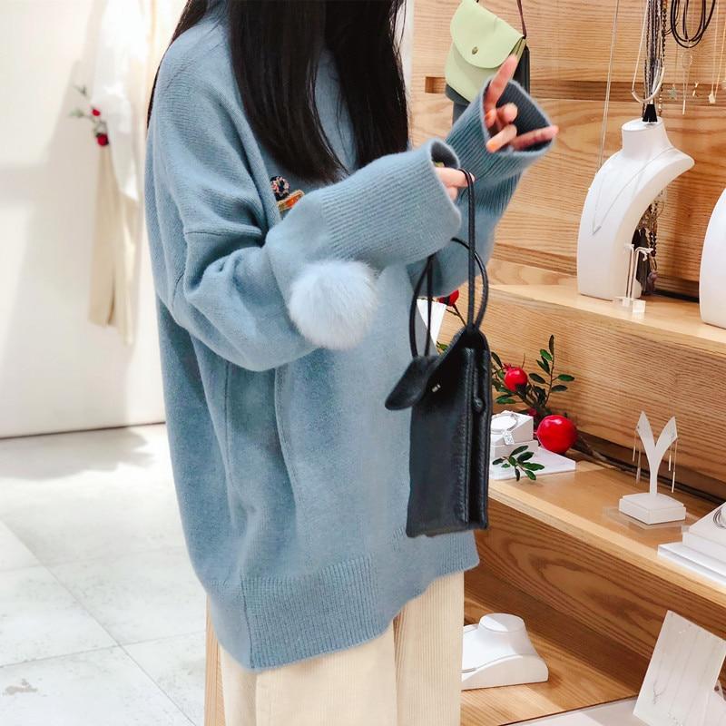 Новинка 2019, шерстяная меховая шаровая манжета, кашемировый свитер, женский свободный свитер средней длины с круглым вырезом, утолщенный Рож... - 2