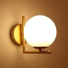 Lámparas de pared LED E27 de estilo moderno, luces de pared de bola de vidrio nórdico para pasillo, pasillo, lámpara de noche para dormitorio, apliques de pared AC85 265V