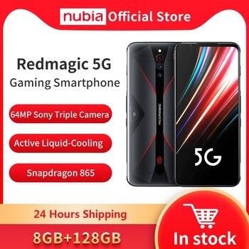 Купить Оригинальный игровой мобильный телефон Nubia Red Magic 5G, 6,65 дюймов, 144 Гц, 8 ГБ, 128 ГБ, Snapdragon 865, Android 10, Wi-Fi, 6