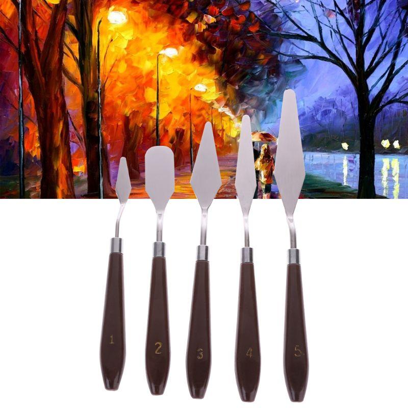 5pcs/set Artist Painting Palette Knife Spatula Paint Art For Thick Paint Application