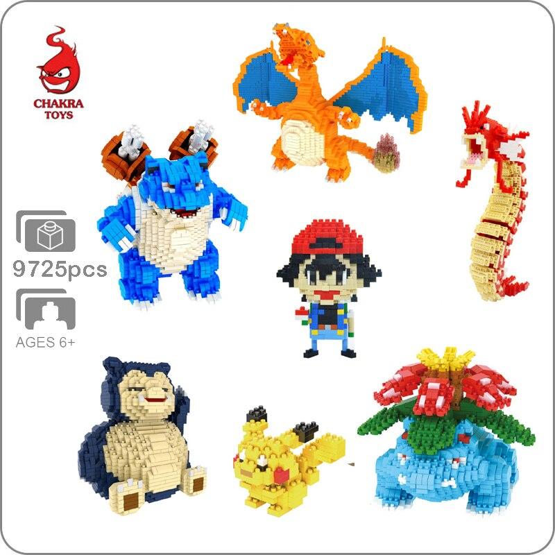 DIY Legoing Bricks Pocket Monster Pikachu  Venusaur Blastoise Charizard Snorlax Gyarados Diamond Mini Building Small Blocks Toy