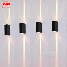 Lámpara LED de pared impermeable para interior y exterior, IP65, iluminación de aluminio arriba y abajo, 2x3W, COB, porche, jardín, dormitorio, baño, ZBD0020