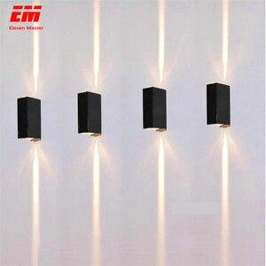 Image 1 - LED su geçirmez duvar lambası kapalı ve açık IP65 alüminyum yukarı ve aşağı aydınlatma 2x3W COB sundurma bahçe yatak odası banyo ZBD0020
